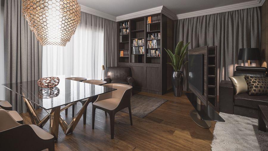 Térben álló TV blokk a nappali és étkező között