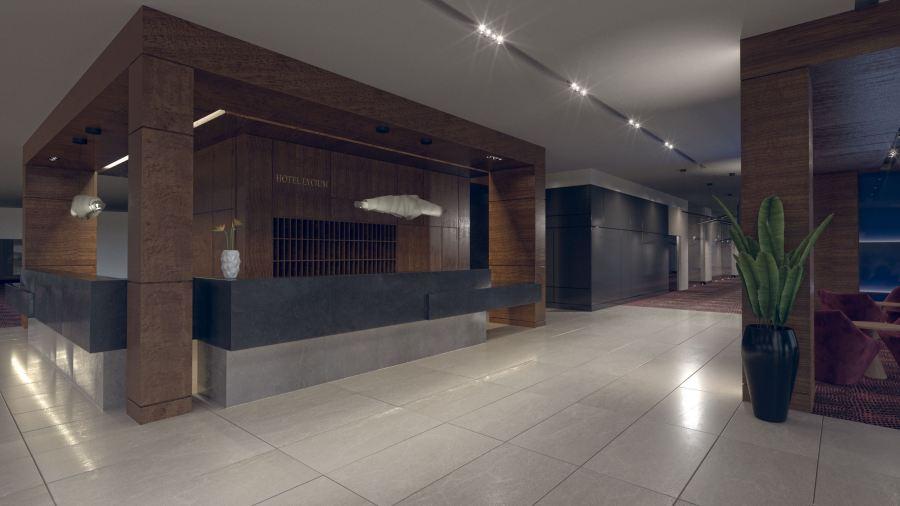 Lobbi tér recepciós pultja, látványterv. Render: Rideg Marcell