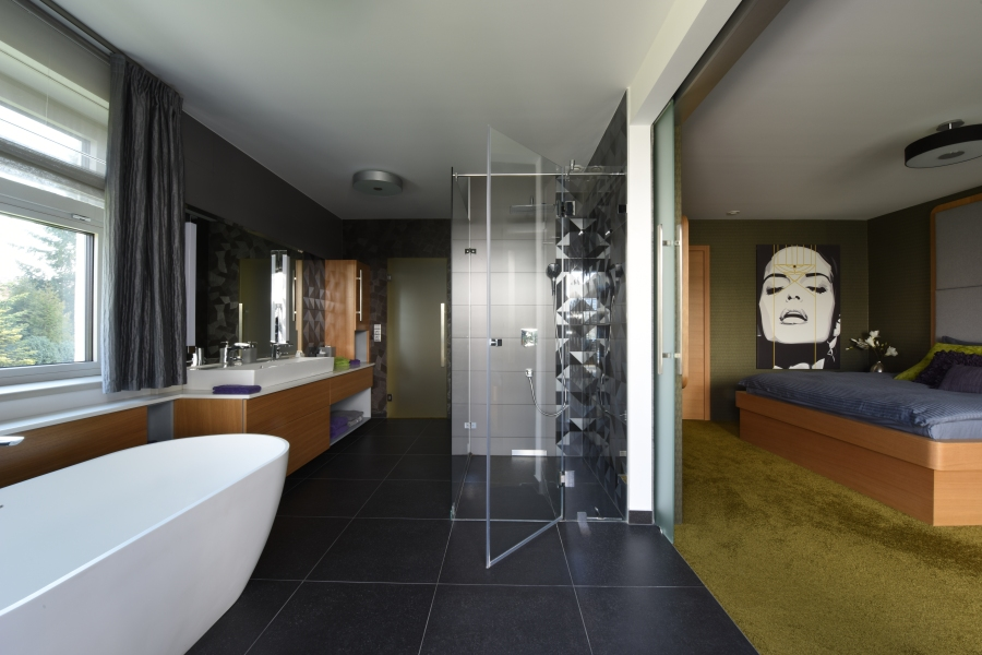 Fürdőszoba férfias anyaghasználattal