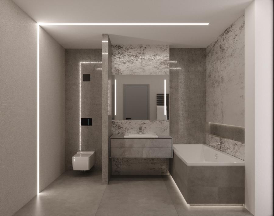 A monokróm színvilágú kádas vendég fürdőszobába fénylő kőfurnér burkolatot választottunk