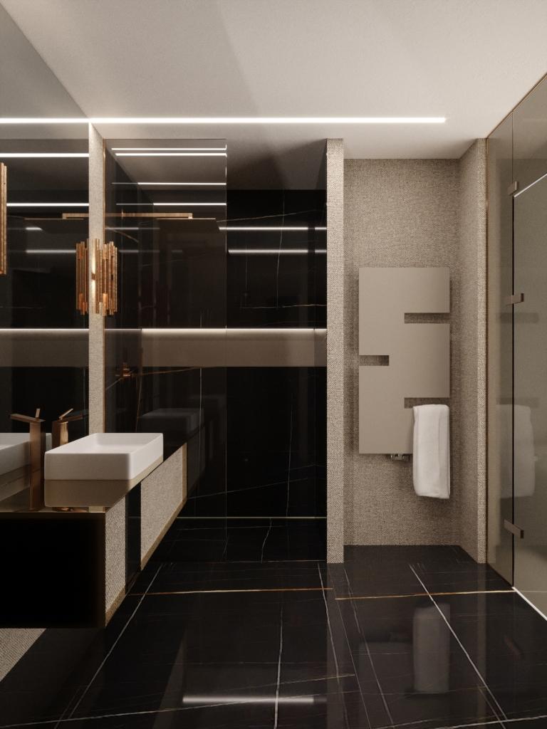 Sahara noir magasfényű márvány, textil hatású tapéta és arany kiegészítők a hálószobához tartozó tusolóban