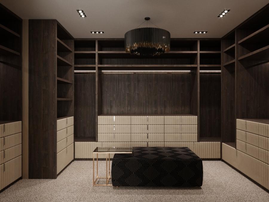 Egyedi tervezésű és gyártású a hálószoba teljes berendezése, így a bőr kárpit betétes gardrób is