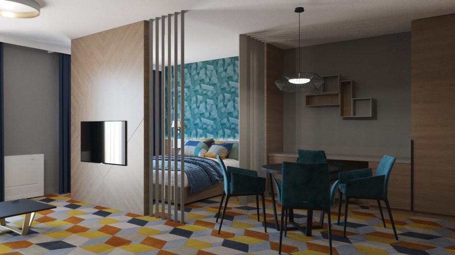 Hotel Európa fit családi apartman szoba látványterv. Render: http://dotdesign.hu/