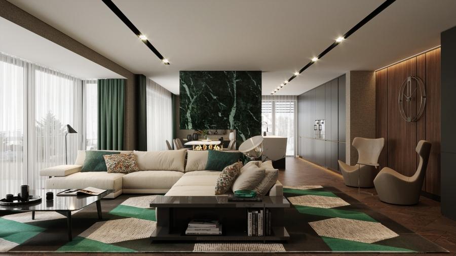 A nappali terétől impozáns smaragd márványburkolatos kandalló szeparálja a konyha-étkezőt