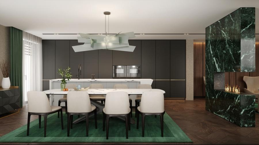 A sötétzöld gyapjúszőnyegre helyezett fehér márványlapos étkezőbútor különleges eleganciájú