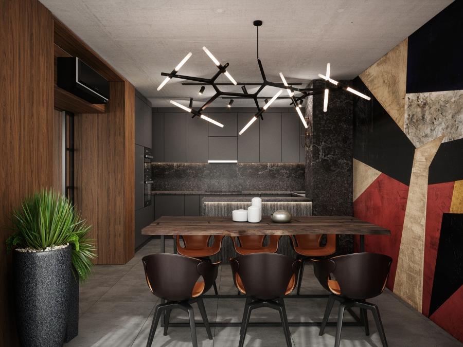 A szürke felületek mellett a hangsúly az étkező falra és a látványos csillárra került