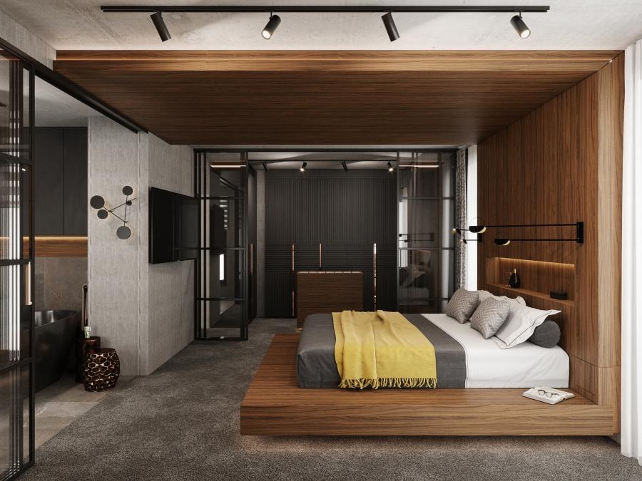 Háló-gardrób-fürdőszoba egysége, középpontban a hagy hangsúllyal bíró ágy komplexummal